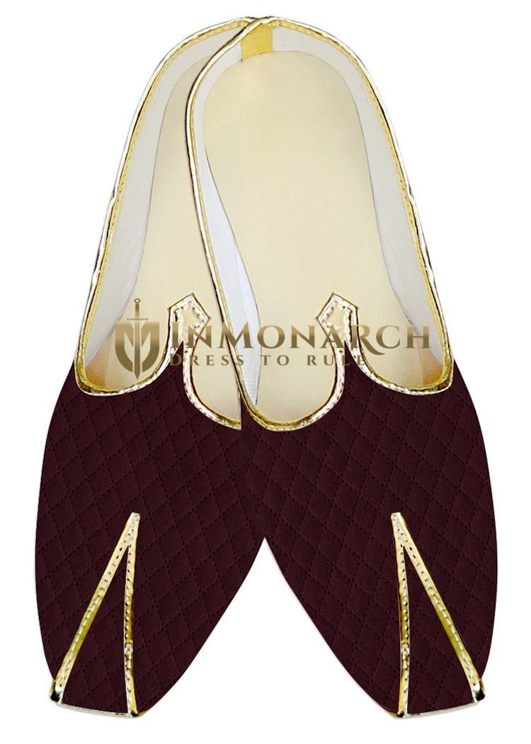 Indian WeddingShoes For Men Burgundy Designer Velvet Wedding Shoes