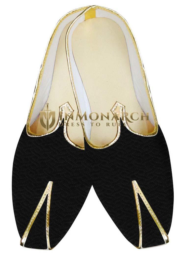 Indian MensShoes Black Velvet Wedding Shoe Designer Threading