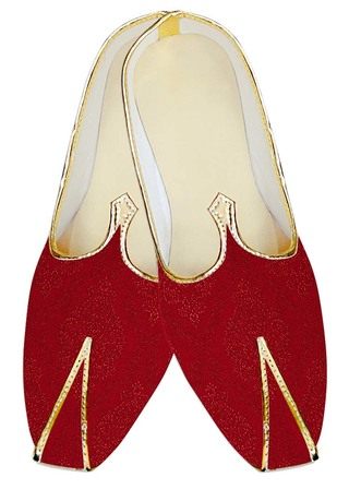 Mens Sherwani Shoes Crimson Jute Silk Wedding Shoes Designer