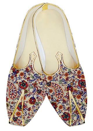 Juti ForMen Cream Jute Silk Wedding Shoe Paisley Pattern Wedding Shoe