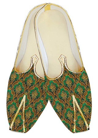Mens Indian Bridal Shoes Emerald Jute Silk Indian Wedding Shoes