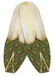 Mens Indian BridalShoes Emerald Jute Silk Indian Wedding Shoes