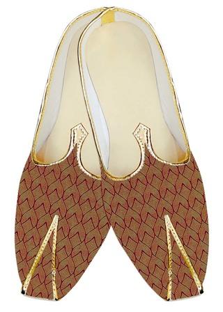 TraditionalShoes For Men Copper Jute Silk Wedding Shoes Designer Pattern