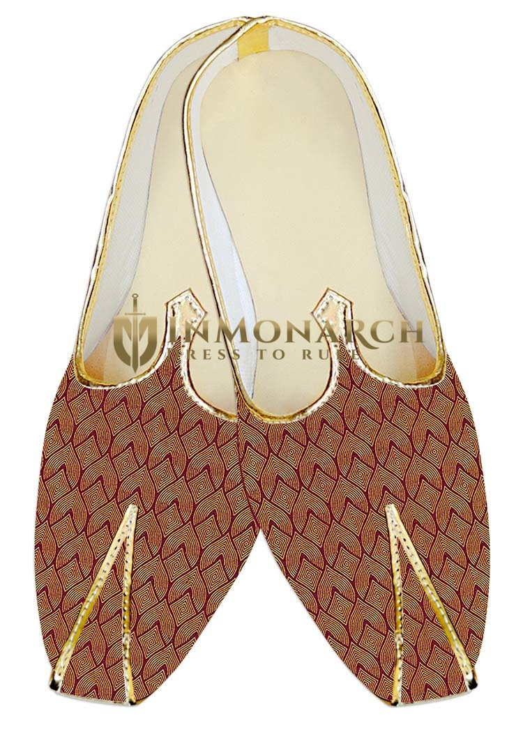 Traditional Shoes For Men Copper Jute Silk Wedding Shoes Designer Pattern