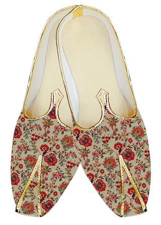 Indian MensShoes Cream Jute Silk Wedding Shoes Flower Design
