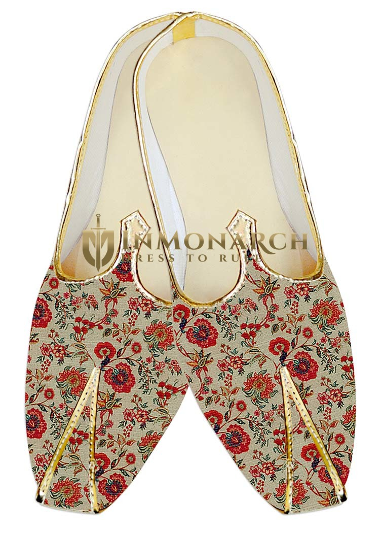 Indian Mens Shoes Cream Jute Silk Wedding Shoes Flower Design