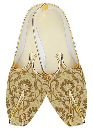 Mens Indian BridalShoes Golden Wedding Shoes Designer Flower