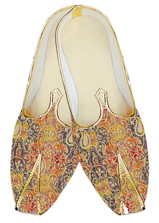 Traditional Shoes For Men Orange Jute Silk Wedding Shoes Floral Designs