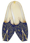 Indian Mens Shoes Royal Blue Jute Silk Wedding Shoes Paisley Design
