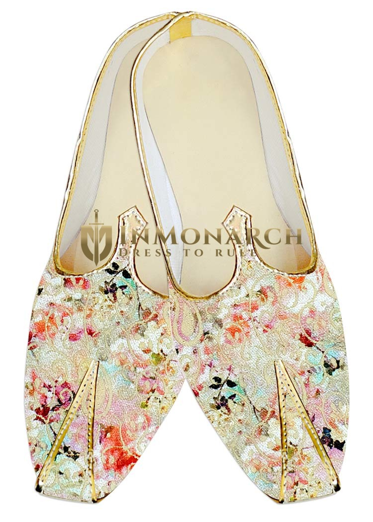 Mens Juti Cream Jute Silk Wedding Shoes Floral Pattern Sherwani Shoes