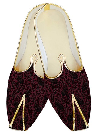 Mens Sherwani Shoes Magenta Velvet Wedding Shoes Paisley Pattern