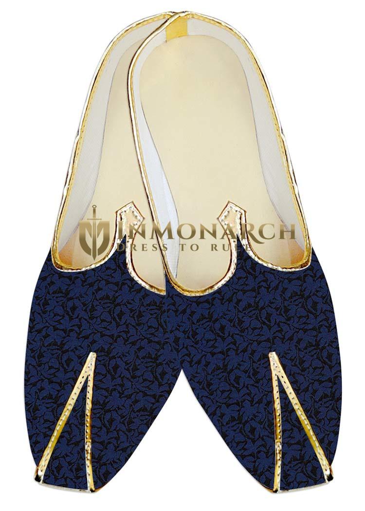 Juti ForMen Royal Blue Wedding Mojari Black Flower Wedding ShoeFor Groom
