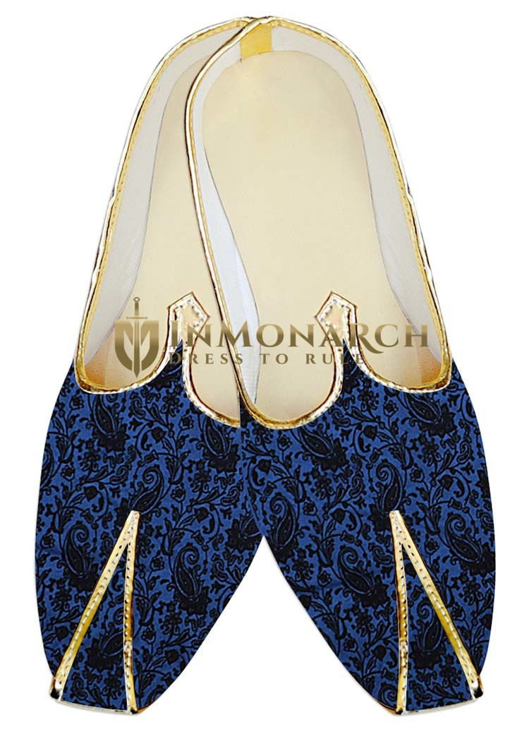 Mens Royal Blue Velvet Wedding Shoes Paisley Designs MJ18359