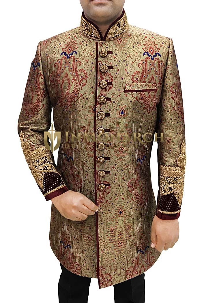 Indian Wedding Clothes for Men Bronze Sherwani Indowestern Embroidered