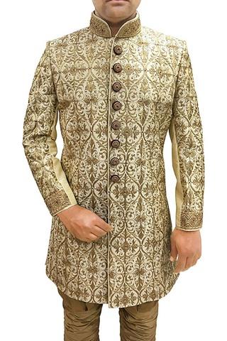 Mens Cream Sherwani Indowestern Sherwani for Men Wedding