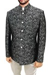 Mens Black Polyester 2 Pc Jodhpuri Suit Floral Designs