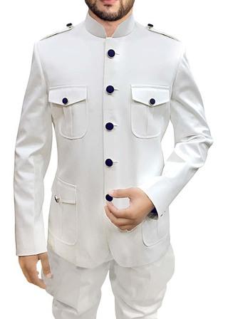 Mens White Cotton 2 Pc Jodhpuri Suit Safari Style