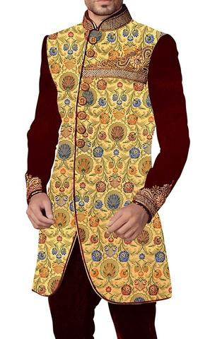 Mens Yellow Sherwani kurta Indowestern Embroidered Wedding Sherwani