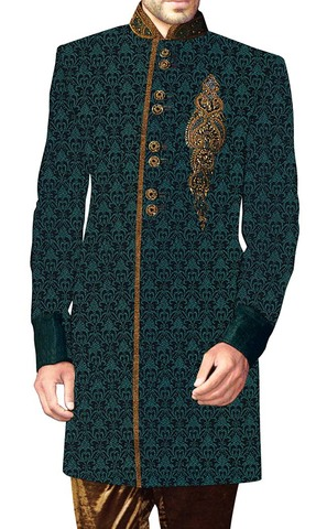 Indian Sherwani for Men Teal Indowestern Embroidery Work Sherwani kurta