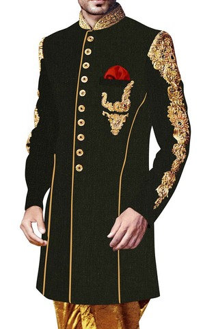 Black Mens Wedding Hand Embroidered Indian Sherwani