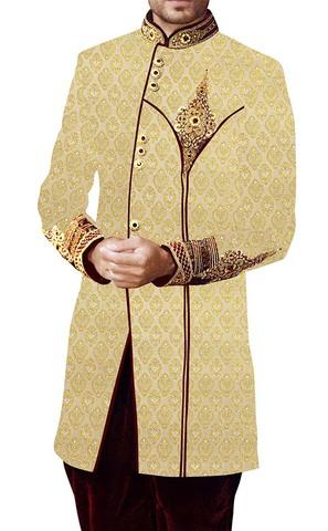 Sherwani for Men Wedding Yellow Brocade 2 Indowestern Embroidered Work