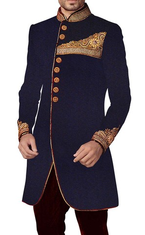 Royal Blue Sherwani Indowestern Hand Embroidered Indian Wedding for Men