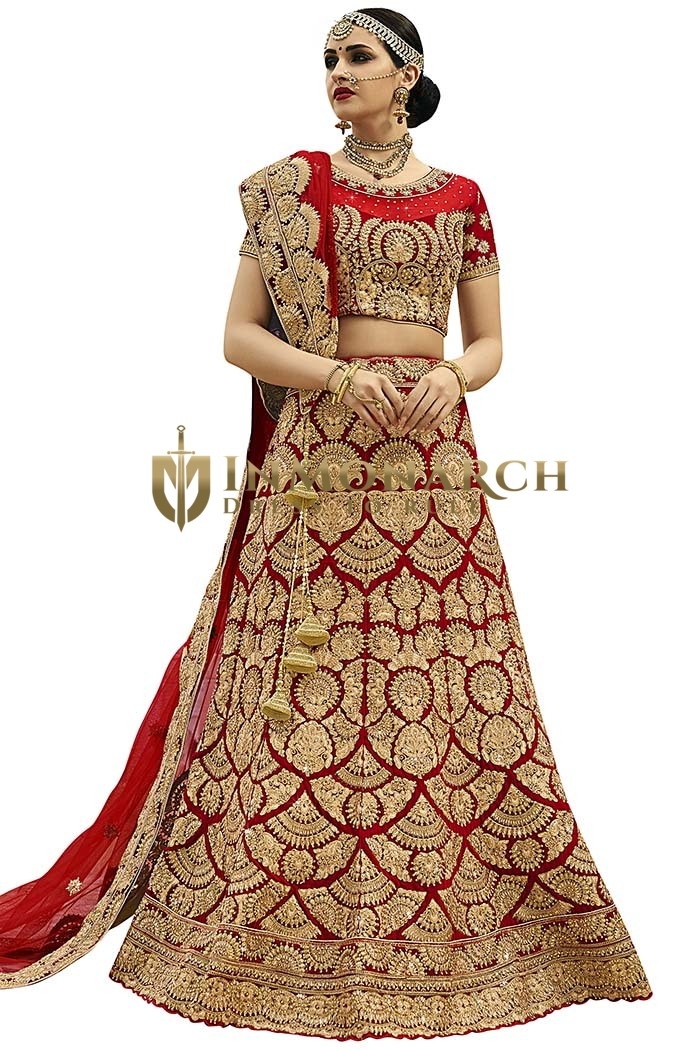 Bridal Maroon Velvet Wedding Lehenga