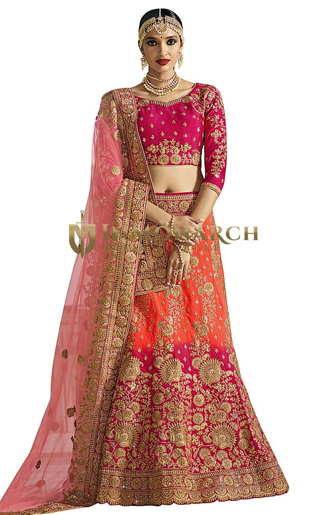 Magenta and Orange Jute Silk Lehenga Choli
