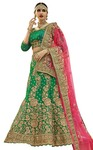 Ethnic Green Satin Silk Designer Lehenga