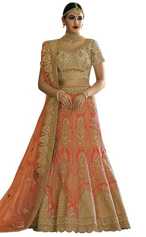 Salmon and Tan Satin Silk Lehenga Choli