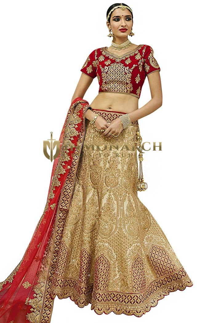 Wedding Cream Satin Silk Lehenga Choli