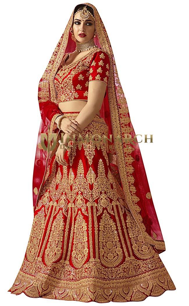 Wedding Red Satin Silk Bollywood Lehenga