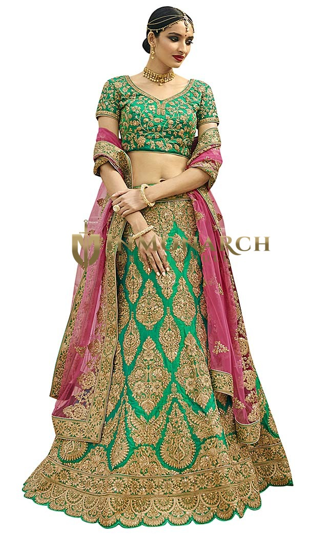 Indian Bridal Emerald Silk Lehenga Choli