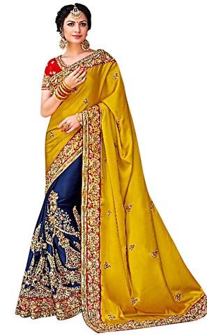 Navy Blue and Yellow Satin Silk Bridal Saree