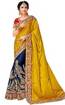 Navy Blue and Yellow Satin Silk Bridal Saree