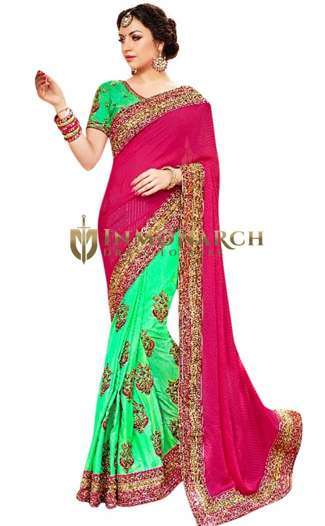 Light Green Half and Half Partywear Sari