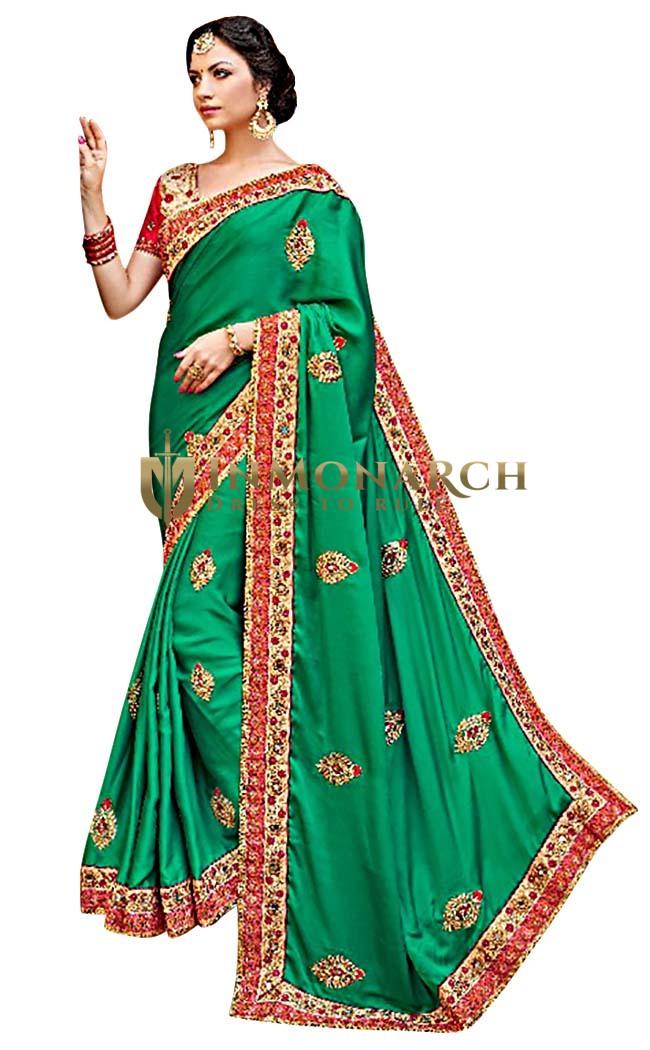 Dark Green Satin Chiffon Traditional Saree