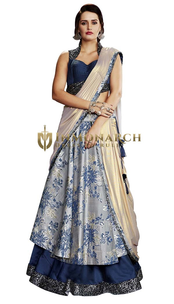 Gray and Navy Blue Two-layered Lehenga Saree