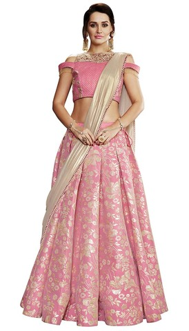 Wedding Pink Brocade Lehenga Style Saree