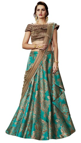 Bridal Teal and Brown Brocade Lehenga Saree