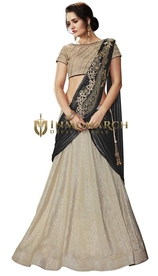 Cream and Black Fancy Lycra Lehenga Saree