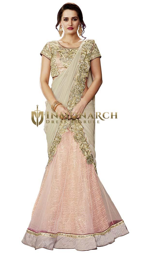 Glamour Pink Net Lehenga Style Saree