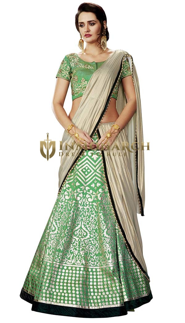Wedding Green Dupion Lehenga Style Saree