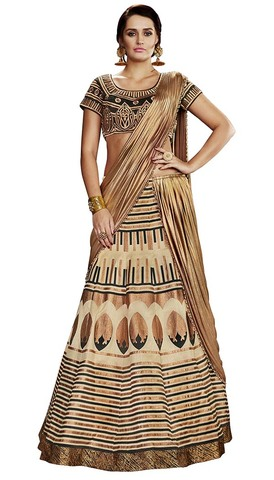 Traditional Beige Raw Silk Lehenga Saree