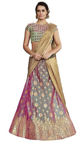 Purple Two Tone Silk Lehenga Saree