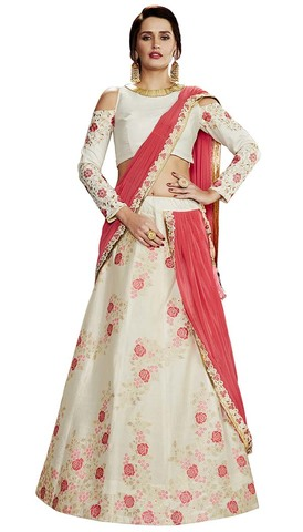 Off White Weaved Silk Lehenga Style Saree
