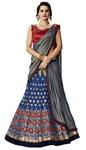 Blue Weaved Silk Bridal Lehenga Style Saree