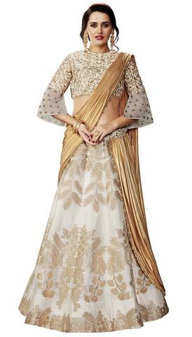 Wedding Off White Weaved Silk Lehenga Saree