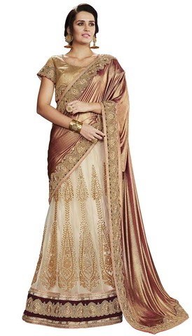 Indian Cream and Golden Net Lehenga Saree