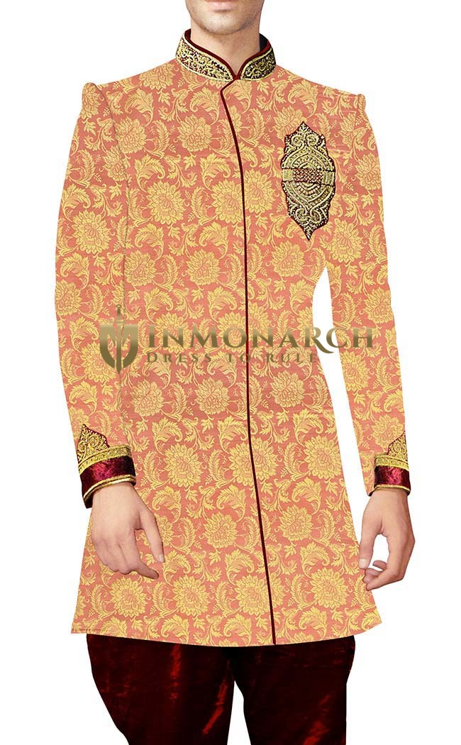 Mens Sherwani Peach Indowestern Embroidered kurta for jeans